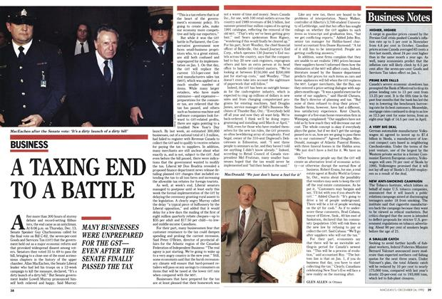 Article Preview: A TAXING END TO A BATTLE, December 1990 | Maclean's
