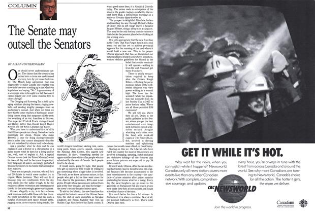 Article Preview: The Senate may outsell the Senators, December 1990 | Maclean's