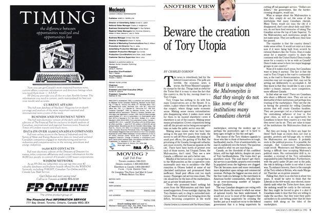 Article Preview: Beware the creation of Tory Utopia, December 1990 | Maclean's