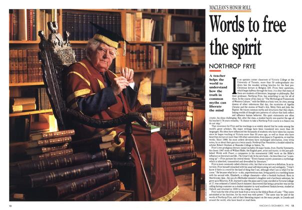 Article Preview: Words to free the spirit, December 1990   Maclean's