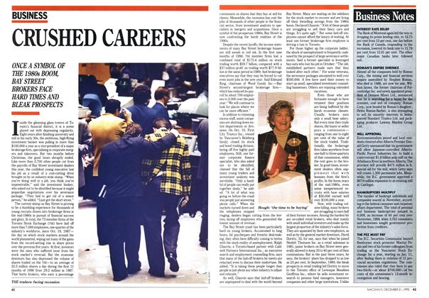 Article Preview: CRUSHED CAREERS, December 1990 | Maclean's