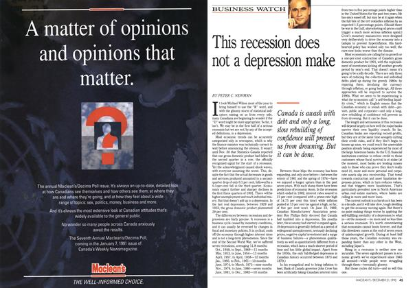 Article Preview: This recession does not a depression make, December 1990 | Maclean's