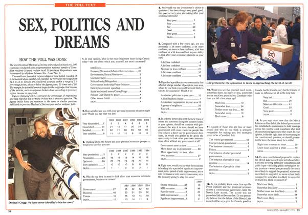 Article Preview: SEX, POLITICS AND DREAMS, January 1991 | Maclean's