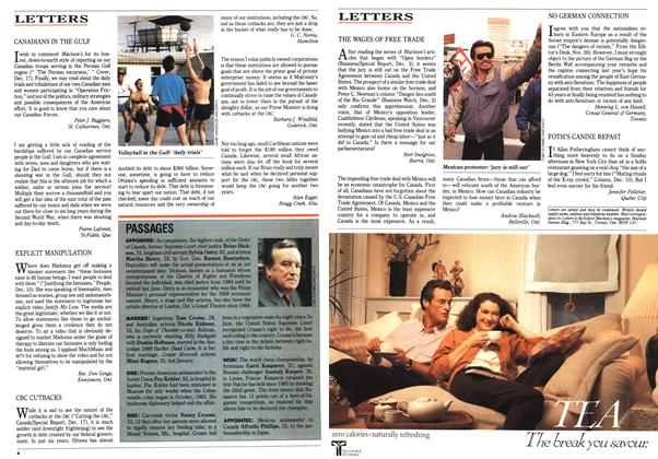 Article Preview: LETTERS, January 1991 | Maclean's