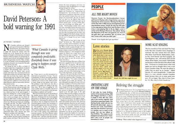 Article Preview: David Peterson: A bold warning for 1991, January 1991   Maclean's