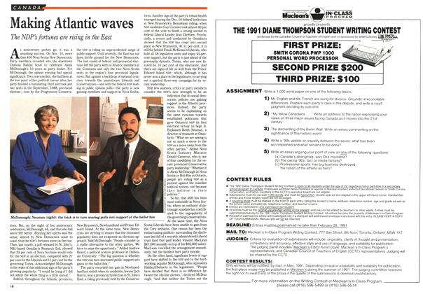 Article Preview: Making Atlantic waves, January 1991 | Maclean's
