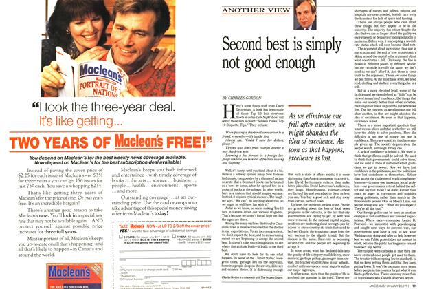 Article Preview: Second best is simply not good enough, January 1991 | Maclean's