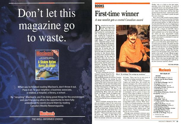 Article Preview: First-time winner, February 1991 | Maclean's