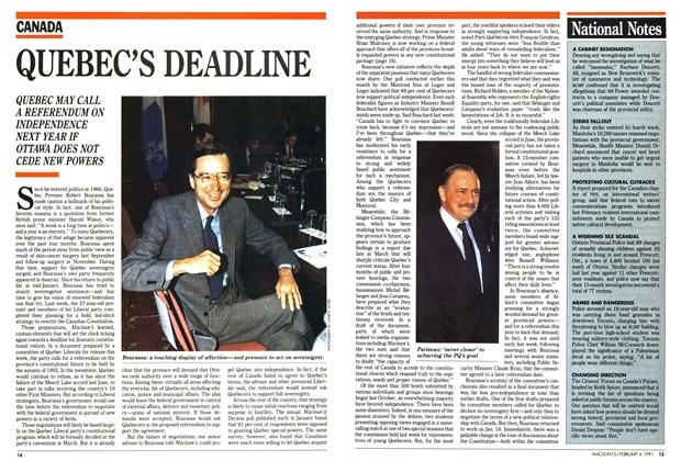 Article Preview: QUEBEC'S DEADLINE, February 1991 | Maclean's