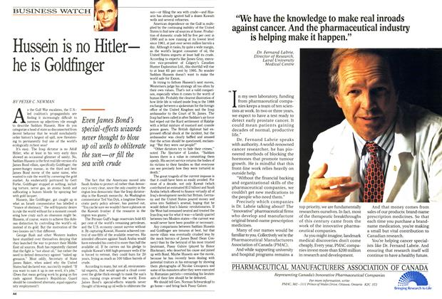 Article Preview: Hussein is no Hitler— he is Goldfinger, FEBRUARY  1991 | Maclean's