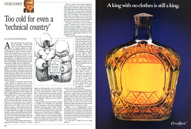 Article Preview: Too cold for even a 'technical country', FEBRUARY  1991 | Maclean's