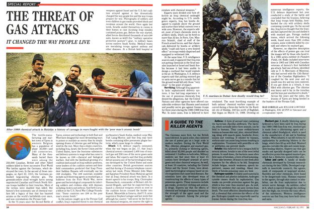 Article Preview: THE THREAT OF GAS ATTACKS, February 1991 | Maclean's