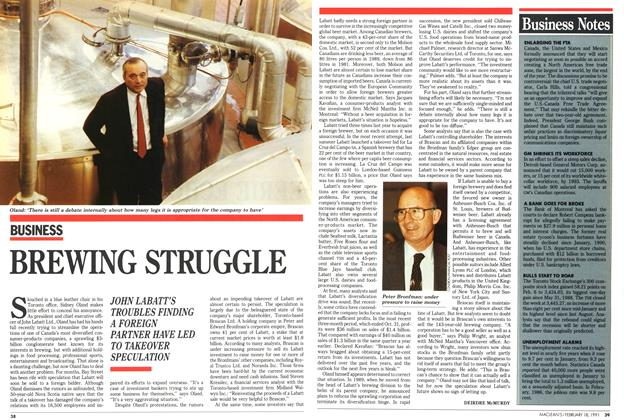 Article Preview: BREWING STRUGGLE, February 1991 | Maclean's