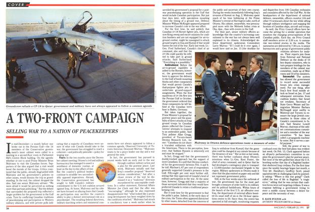 Article Preview: A TWO-FRONT CAMPAIGN, February 1991 | Maclean's