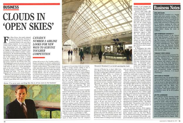 Article Preview: CLOUDS IN 'OPEN SKIES', February 1991 | Maclean's