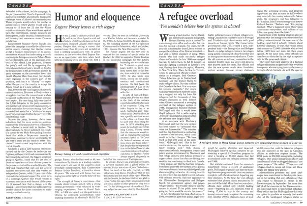 Article Preview: A refugee overload, March 1991 | Maclean's
