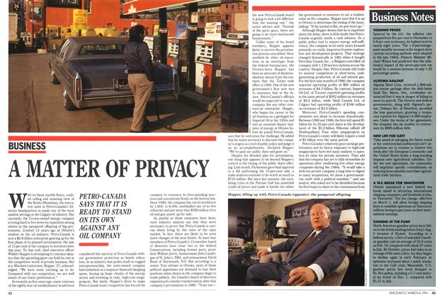 Article Preview: A MATTER OF PRIVACY, March 1991 | Maclean's
