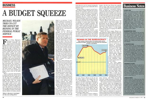 Article Preview: A BUDGET SQUEEZE, March 1991 | Maclean's