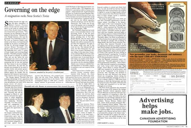 Article Preview: Governing on the edge, March 1991 | Maclean's