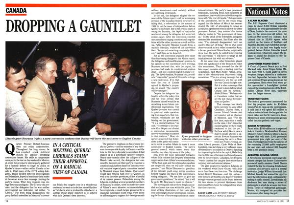 Article Preview: DROPPING A GAUNTLET, March 1991 | Maclean's