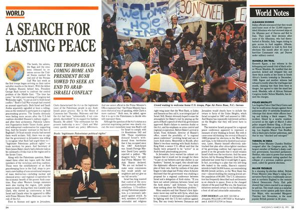 Article Preview: A SEARCH FOR LASTING PEACE, March 1991 | Maclean's