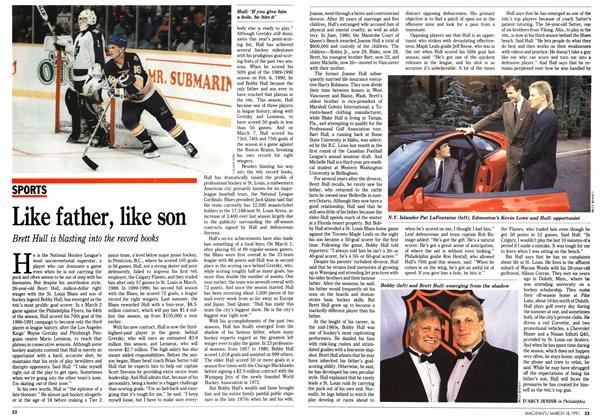 Article Preview: Like father, like son, March 1991 | Maclean's