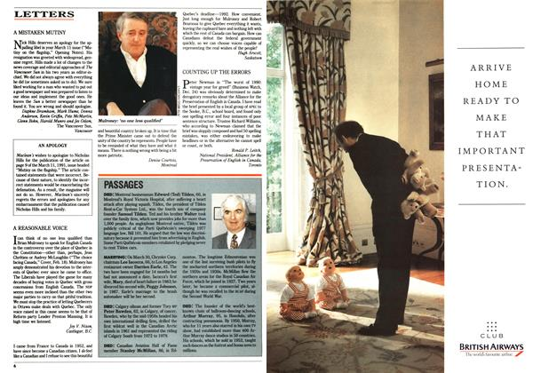 Article Preview: LETTERS, March 1991 | Maclean's