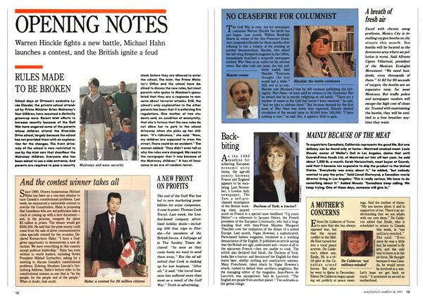 Article Preview: OPENING NOTES, March 1991 | Maclean's