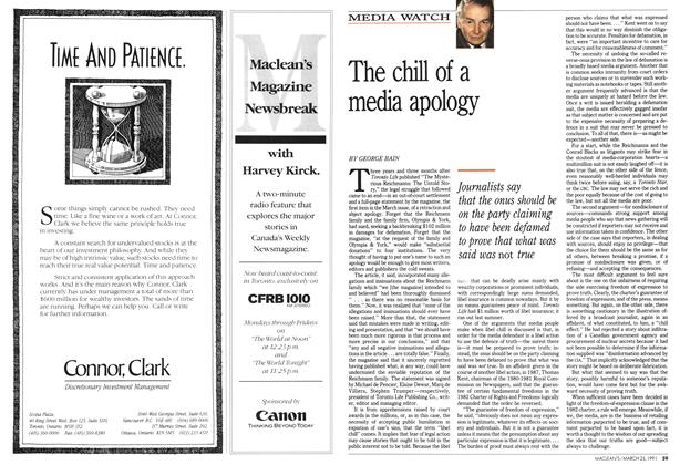 Article Preview: The chill of a media apology, March 1991 | Maclean's