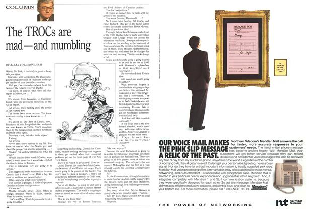 Article Preview: The TROCs are mad—and mumbling, March 1991 | Maclean's
