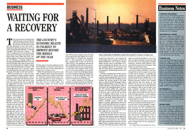 Article Preview: WAITING FOR A RECOVERY, April 1991 | Maclean's