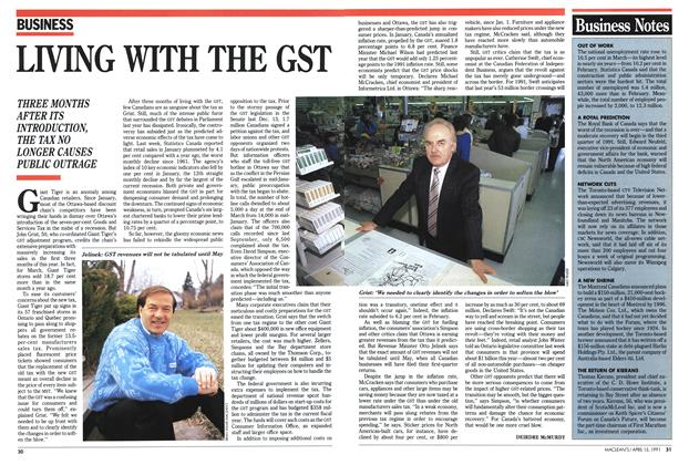 Article Preview: LIVING WITH THE GST, April 1991 | Maclean's