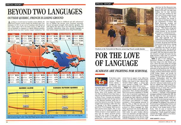 Article Preview: FOR THE LOVE OF LANGUAGE, April 1991 | Maclean's