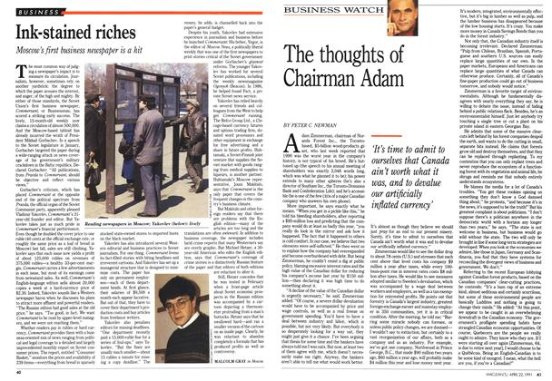 Article Preview: The thoughts of Chairman Adam, April 1991 | Maclean's