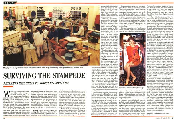 Article Preview: SURVIVING THE STAMPEDE, April 1991 | Maclean's
