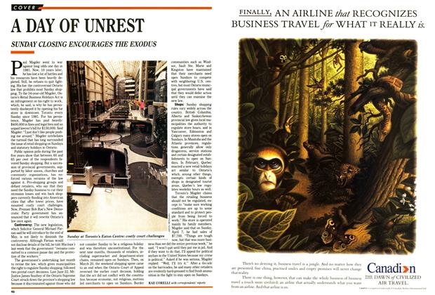 Article Preview: A DAY OF UNREST, April 1991 | Maclean's