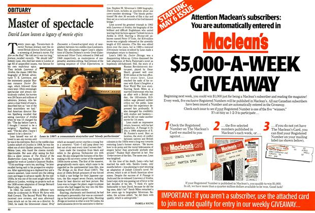 Article Preview: Master of spectacle, April 1991 | Maclean's