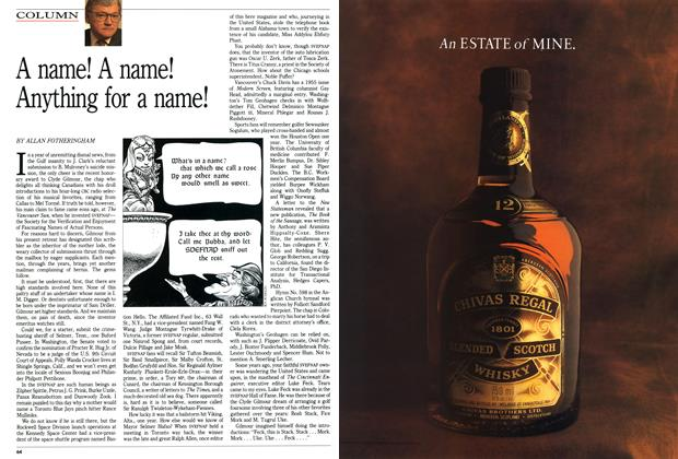 Article Preview: A name! A name! Anything for a name!, April 1991 | Maclean's