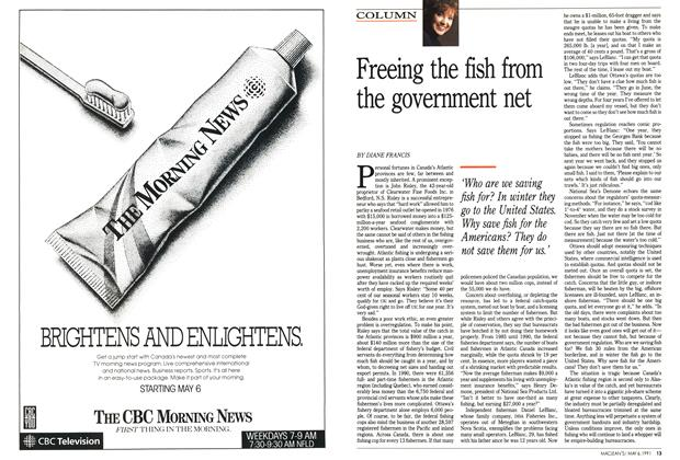 Article Preview: Freeing the fish from the government net, May 1991 | Maclean's