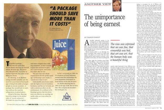 Article Preview: The unimportance of being earnest, May 1991 | Maclean's