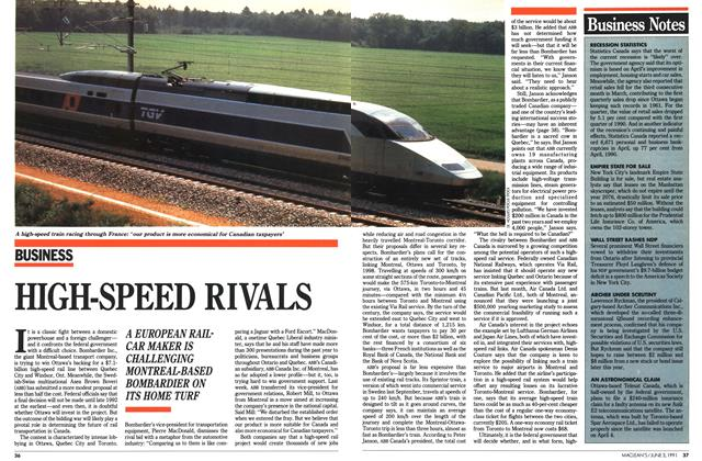 Article Preview: HIGH-SPEED RIVALS, June 1991   Maclean's
