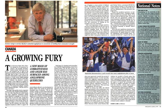 Article Preview: A GROWING FURY, June 1991 | Maclean's