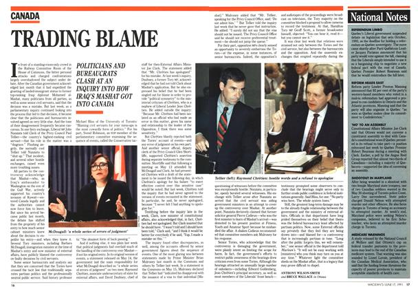 Article Preview: TRADING BLAME, June 1991 | Maclean's