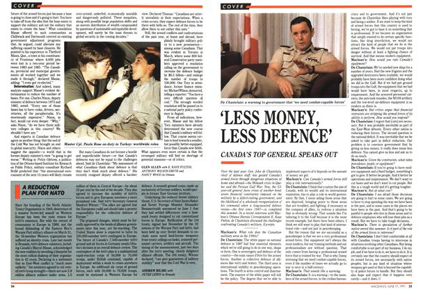 Article Preview: 'LESS MONEY, LESS DEFENCE', June 1991 | Maclean's