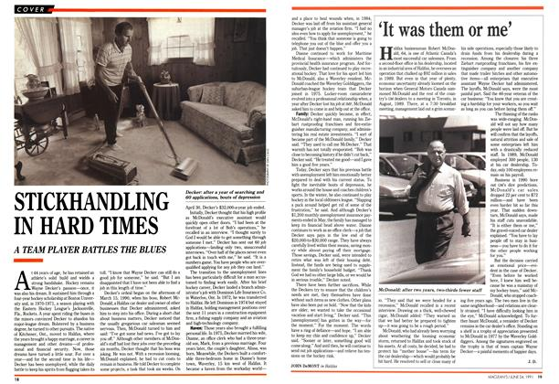 Article Preview: STICKHANDLING IN HARD TIMES, June 1991 | Maclean's