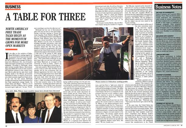 Article Preview: A TABLE FOR THREE, June 1991 | Maclean's