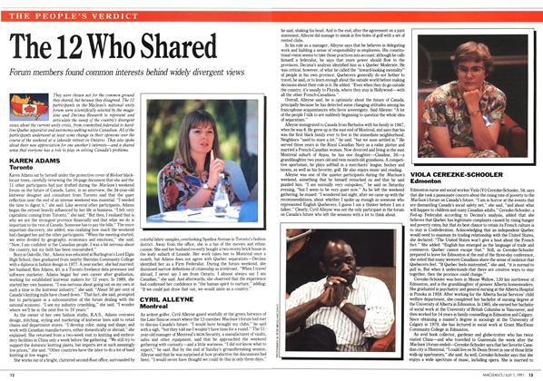 Article Preview: The 12 Who Shared, July 1991 | Maclean's