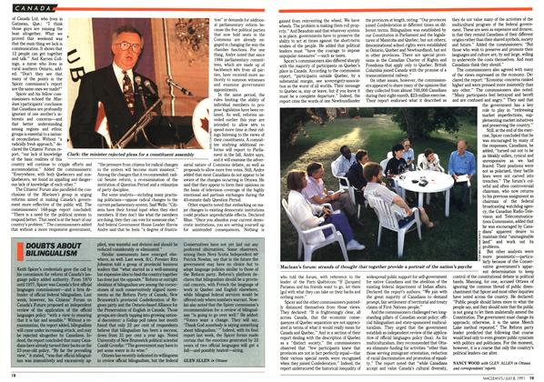 Article Preview: DOUBTS ABOUT BILINGUALISM, July 1991 | Maclean's
