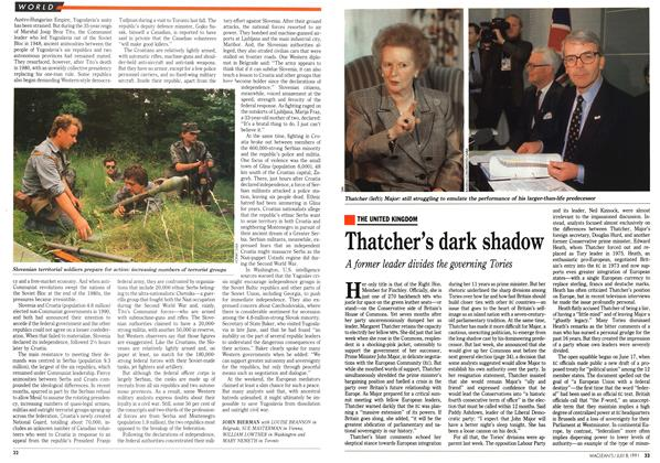 Article Preview: Thatcher's dark shadow, July 1991 | Maclean's