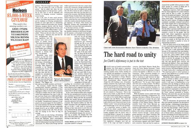 Article Preview: The hard road to unity, JULY  1991   Maclean's